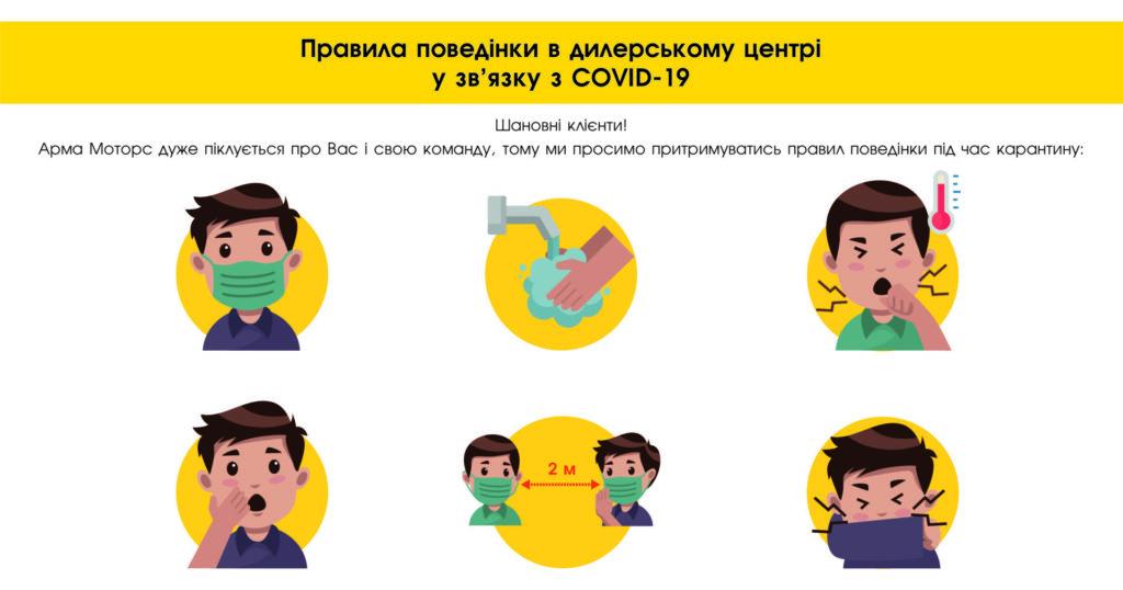 Правила поведінки в дилерському центрі у зв'язку з COVID-19